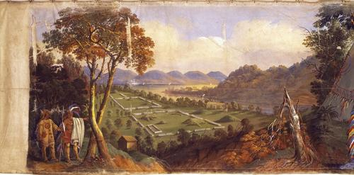 John J.  Egan; Marietta Ancient Fortification; A Grand View of Their Walls, Bastions, Ramparts, Fossa, With the Relics Therein Found, scene one from the Panorama of the Monumental Grandeur of the Mississippi Valley, c.1850; distemper on cotton muslin; Saint Louis Art Museum, Eliza McMillan Trust 34:1953