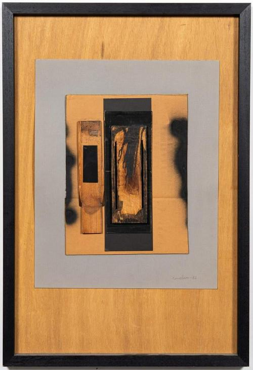 Untitled mixed media on mat board painted wood assemblage by Louise Nevelson (American, 1899-1988), signed and dated (1982), in a 31 ½ inch by 21 ½ inch frame (est.  $10,000-$20,000).