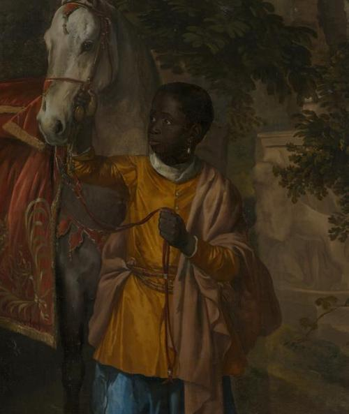 Jan Mijtens, Dutch, Portrait of Maria of Orange with Hendrik van Nassau-Zuylestein and a Black Child (detail), c.  1655.  Oil on canvas.  Mauritshuis, The Hague.