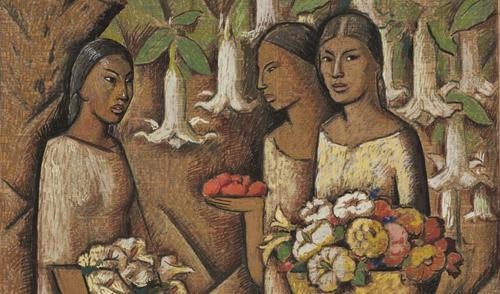 "Alfredo Ramos Martínez, ""Mujeres con flores (Women with Flowers)"" (detail), ca.  1946.  Tempera and Conté crayon on newsprint / Tempera y crayón Conté sobre papel periódico.  SBMA, Gift of the P.D.  McMillan Land Company, 1963.32.1 © The Alfredo Ramos Martínez Research Project."