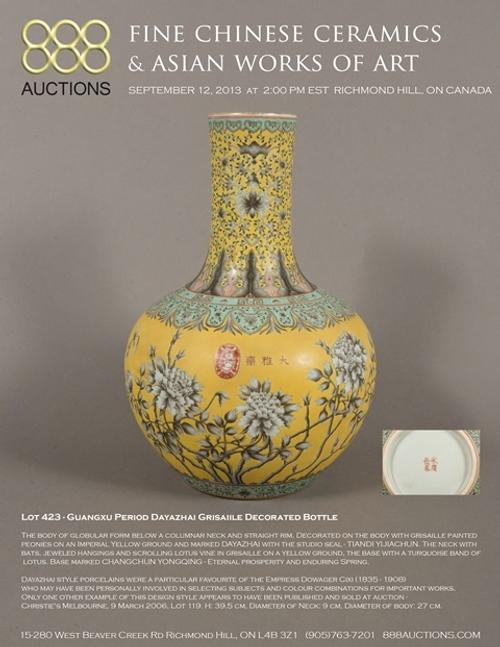 September 12, 2013 FINE CHINESE CERAMICS & ASIAN WORKS OF ART AUCTION