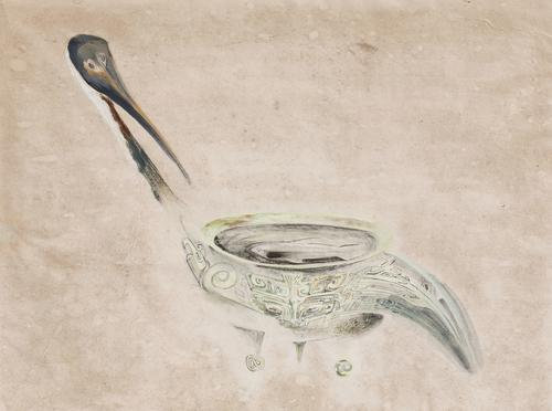 "Morris Graves (1910-2001), Ceremonial Bronze Taking the Form of a Bird (detail), 1947, gouache and ink on paper, 18"" x 23"", signed"