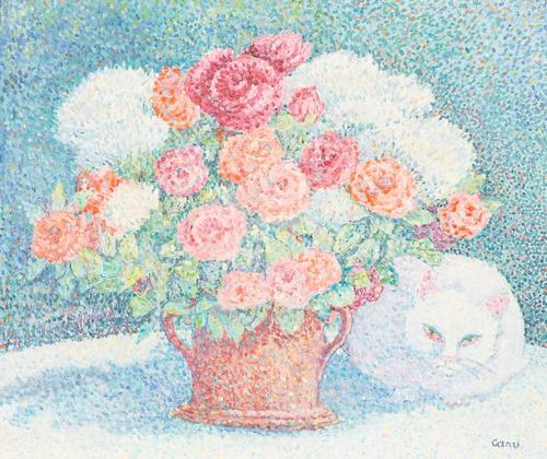 Oil on canvas by Yvonne Canu (French, 1921-2008), titled Fleur sous les fleurs, 18 ¼ inches by 21 ½ inches, artist signed lower right and titled on the reverse (est.  $2,000-$3,000).
