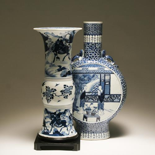 A pair of Chinese vases that will be offered in Antique Helper's March 19 Art and Antiques Auction.The cobalt and white beaker vase features a Kangxi Manchurian hunting scene; the other vase is a 19th Century moon flask.