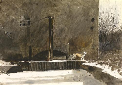 """Frozen Race"", 1969, watercolor on paper, 20 1/4 x 29 1/4, © 2020 Andrew Wyeth / Artists Rights Society (ARS), New York"