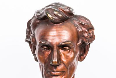 A Rare Bronze Bust of Abraham Lincoln by Leonard Wells Volk (1828-1895), ca.  1914