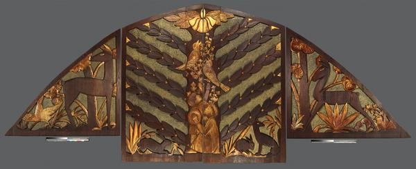 Sargent Claude Johnson (1888-1967), Untitled (screen for pipe organ),1937, carved, painted, and gilded redwood, 8 ft.  9 in.  tall at the highest point x 22 ft.  long x 2 in.  deep.  Huntington Library, Art Collections, and Botanical Gardens.