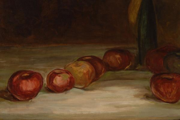 Henry O.  Tanner (American, 1859-1937), Still Life with Apples, 1890s.  Oil on canvas, 19 1/2 x 25 1/2 inches.