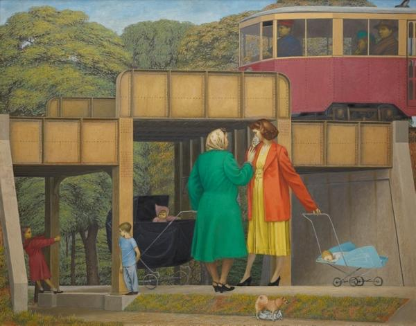 Henry Koerner (American, 1915-1991) Under the Overpass, 1949.  Oil on masonite, 30 x 38 inches.  Courtesy of Jonathan Boos.