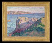 "Théo van Rysselberghe (Belgian, 1862-1926) La Baie de Sainte Brélade, Jersey.  Signed with the artist monogram and dated ""07,"" titled en verso.  Oil on canvas, 25 3/4"" high x 32"" wide."