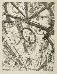 'Les Roues', 1974.  Etching, 25 x 19 inches.
