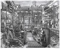 'Le Magasin de Robert Capia', 2008.  Etching, 28 1/4 x 35 1/4 inches.