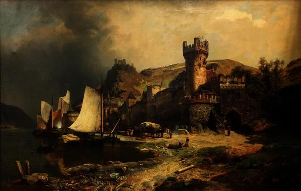 """Rheinlandschaft,"" this framed oil on canvas by Johann Gottfried Pullan (German, 1809-1875) will be a highlight of the European fine art offerings."
