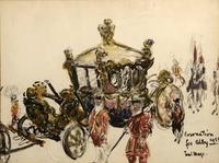 Watercolor painting by Paul Lucien Maze (1887-1979), titled Coronation for Abby 1953, acquired by the Rockefellers as a gift from the artist in 1957.