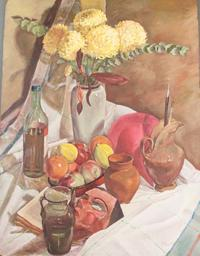 Lot 91, a Zinaida Serebriakova (1884-1967) Russian Oil Board featuring a still life painting of fruits, flowers and vases.  Measuring at 31 inches by 24 inches, this Serebriakova piece is expected to exceed its high estimate of $12,000