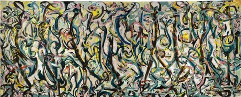 Jackson Pollock, Mural, 1943, oil and casein on canvas, 95 5/8 x 237 3/4 in.  (242.9 x 603.9 cm), Gift of Peggy Guggenheim, 1959.6, reproduced with permission from the University of Iowa