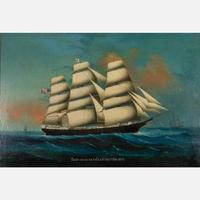Unsigned oil on board by an unknown 20th century artist, titled Ship India Bath Captain Patten, 1878 (est.  $1,500-$2,500).