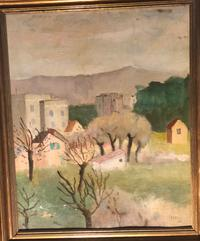 "Artist: Ardengo Soffici (Italian, 1879-1964) Title: Medium: Oil on artist board Size: 18"" x 22 1/12"" (45 x 57 cm) Date: 1926 (Signed dated lower right) Est: $8,000-12,000"