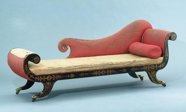 Couch, attributed to Hugh Finlay, Baltimore, Maryland, 1819-1821, tulip poplar, paint and brass; linen, iron, hair stuffing, wool and silk, Museum purchase, Bridget and Alfred Ritter in honor of Milly McGehee and Deanne Deavours, 2003-1, 1