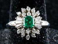 Lot 241: 0.56ct Emerald & Diamond Ring CRV $6009