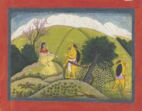 The Demon Sugriva Meets Ambika of the Pahari region, circa 1775-1780