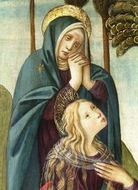 The sadness of the event is eloquently rendered in the faces of Mary and Mary Magdeline