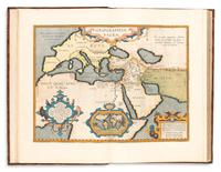 Lot 294: Abraham Ortelius, Parergon, with 38 double-page hand-colored maps, Antwerp, 1609.  Estimate $15,000 to $25,000.