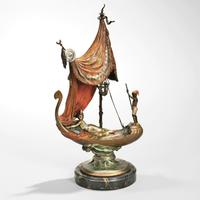 Franz Bergman Cold-painted Bronze Figure of Cleopatra's Barge, Austria, early 20th century (Lot 476, Estimate $8,000-12,000)