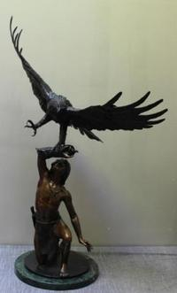 "Exceptional ""Eagle Boy"" Bronze by Quentin Stanley Johnson."