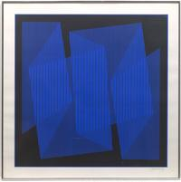 "Lot 143.  Julian Stanczak.  ""Blue Cut-Out Fold"""