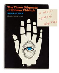 Lot 96: Philip K.  Dick, The Three Stigmata of Palmer Eldritch, first edition, inscribed, Garden City, 1965.  Sold November 14, 2017 for $16,250, a record for the work.  (Pre-sale estimate: $2,000 to $3,000).