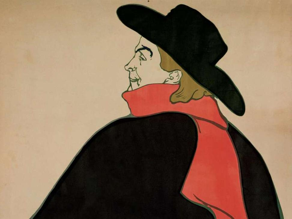 Henri de Toulouse-Lautrec, Aristide Bruant in His Cabaret (detail), 1893.  Poster, color lithograph printed in black, red, green, and gray, proof before letters.  Otis Norcross Fund.  Museum of Fine Arts, Boston.