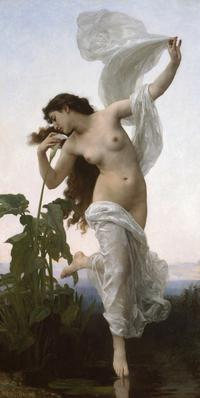 William-Adolphe Bouguereau (French, 1825–1905) Dawn (L'Aurore), 1881.  Oil on canvas, 84 5/8 × 42 1/8 in.  Collection of the Birmingham Museum of Art; Bequest of Nelle H.  Stringfellow