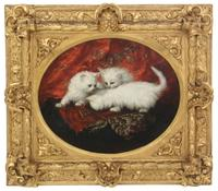 Oval rendering of three white Persian kittens by the Australian-American artist Carl Kahler (1855-1906), in a gold gilt frame (est.  $8,000-$12,000).