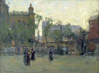 PAUL CORNOYER (1864-1923) Early Evening, Empire Park, New York, c.  1910.  Oil on canvas.  18 x 24 inches Signed lower left.