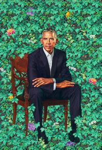 Barack Obama by Kehinde Wiley, oil on canvas, 2018.  National Portrait Gallery, Smithsonian Institution.  The National Portrait Gallery is grateful to the following lead donors for their support of the Obama portraits: Kate Capshaw and Steven Spielberg; Judith Kern and Kent Whealy; Tommie L.  Pegues and Donald A.  Capoccia.