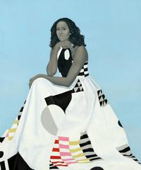 Michelle LaVaughn Robinson Obama by Amy Sherald , o il on linen, 2018 .  National Portrait G allery, Smithsonian Institution.  The National Portrait Gallery is grateful to the following lead donors for their support of the Obama portraits: Kate Capshaw and Steven Spielberg; Judith Kern and Kent Whealy; Tommie L.  Pegues and Donald A.  Capoccia.
