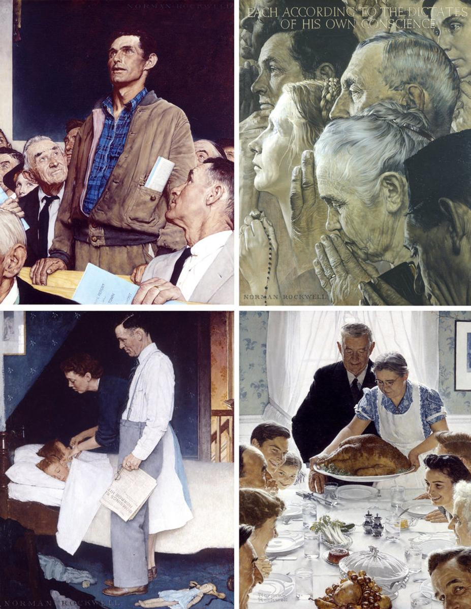 "Rockwell's (clockwise from left): ""Freedom of Speech,"" 1943; ""Freedom of Worship,"" 1943; ""Freedom from Want,"" 1943; and ""Freedom from Fear,"" 1943."