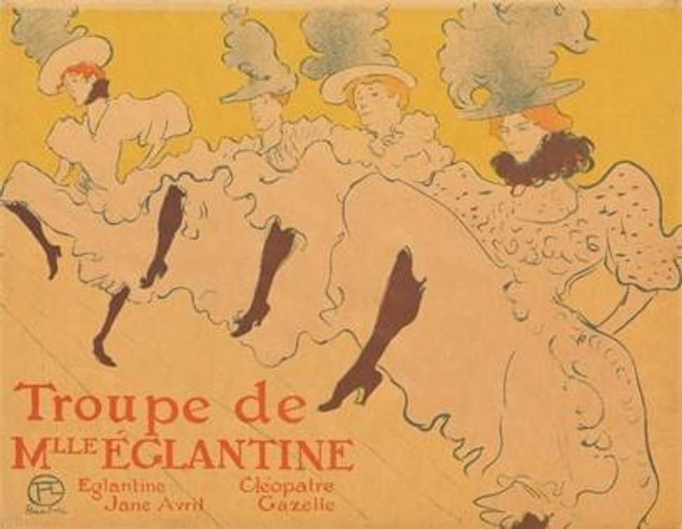 Henri de Toulouse-Lautrec (French, 1864–1901), La Troupe de Mademoiselle Églantine (Mademoiselle Églantine's Troupe), 1896.  Lithograph, sheet: 24 1/4 x 31 1/4 in.  The Museum of Modern Art, New York.  Gift of Abby Aldrich Rockefeller, 1940.  © The Museum of Modern Art, New York.  Photograph by Thomas Griesel