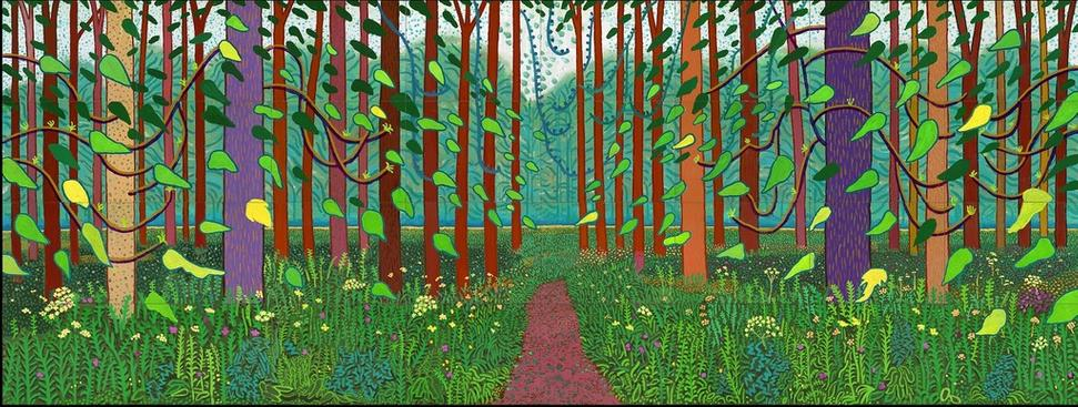 "David Hockney, 'The Arrival of Spring in Woldgate, East Yorkshire in 2011 (twenty eleven)', Oil on 32 canvases (36 x 48"" each), 144 x 384"" overall, © David Hockney, Photo Credit: Richard Schmidt, Centre Pompidou, Paris.  Musée national d'art moderne – Centre de création industrielle"