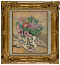 Louis Valtat 1869 - 1952, LES ANEMONES, signed with initials, oil on canvas, 46.2 by 38.1cm.; 18 by 15in.