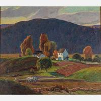 Oil on canvas painting by George G.  Adomeit (American/German, 1879), titled Landscape with House, artist signed lower right and 32 inches by 36 inches (est.  $2,000-$4,000).