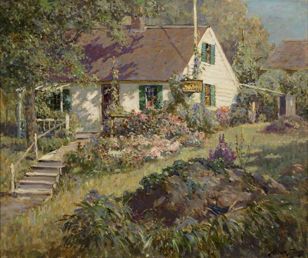 'The Cottage Garden' by Abbott Fuller Graves (1859-1936), oil on canvas, 25 1/4 x 30 1/8 inches, signed lower right: 'Abbott Graves', circa 1925