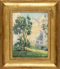 "Lot 64: Edith Lake Wilkinson (West Virginia, 1868-1957), ""Provincetown Backyard,"" c.  1915, signed lower left, oil on canvas board."