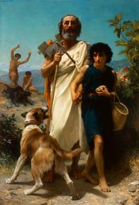 William-Adolphe Bouguereau (French, 1825–1905) Homer and His Guide (Homère et son guide), 1874.  Oil on canvas, 82 1/4 x 56 1/4 in.  Milwaukee Art Museum, Layton Art Collection Inc., Gift of Frederick Layton