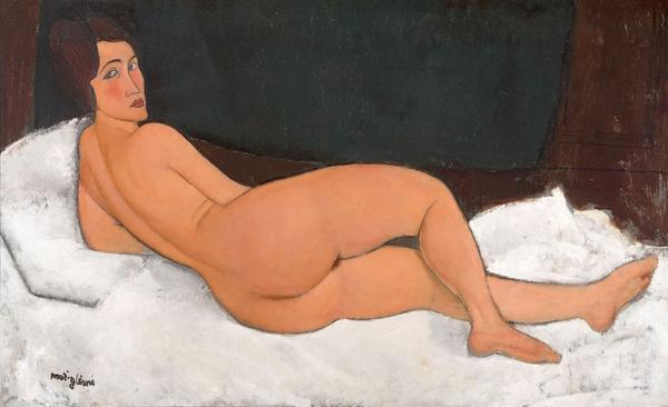 Modigliani, Nude, 1917.  Oil paint on canvas, 890 x 1460 mm.  Private Collection