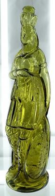 Brown's Celebrated Indian Queen, a figural bitters bottle that's prevalent but popular, this one a particularly nice color, deeper than the usual lime green ($14,375).
