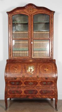 18th century European Rococo Inlaid Wood Two Part Book Cabinet and Secretary
