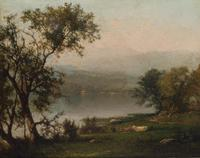 George Inness (1825-1894), Delaware River, circa 1860-63, signed, Oil on canvas, 8 1/4 x 10 inches.  Est.  $8,000-12,000