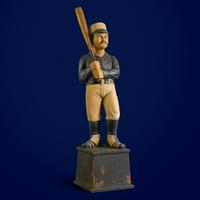 "Tommy Hilfiger: ""This figure is a reminder that baseball was founded in America, back when they were playing the game in high wool socks.  The style was so cool and unique.  It's still the national sport even though the players look more modern now."" Rare and Important Carved and Painted Pine Figure of a Baseball Player, Workshop of Samuel Anderson Robb, New York, Circa 1890.  Estimate $300,000–500,000."